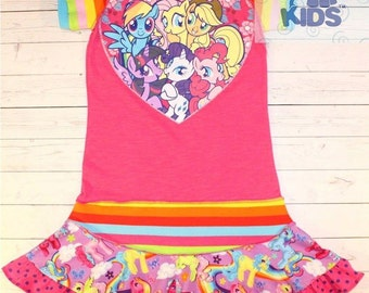 A  dress made out of authentic My Little Pony tshirt super cool funky recycled upcycled  pieced  size 8/9