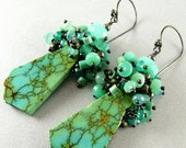 BIGGEST SALE EVER Natural Turquoise Slab And Sterling Silver Earrings