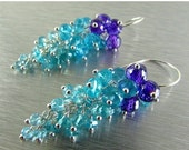 BIGGEST SALE EVER Apatite and Purple Zirconia Cluster Waterfall Sterling Silver Earring