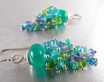 25% Off Summer Sale Green Onyx and Apatite, Peridot, and Quartz Gemstone Cluster With Sterling Silver Dangle Earrings