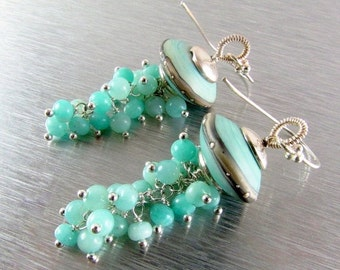 BIGGEST SALE EVER Aqua Lampwork Bead With Amazonite, Peruvian Opal And Sterling Silver Earrings