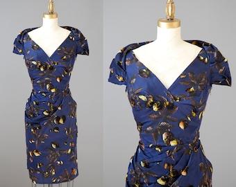 Bronte fall, leaves, fall dress | vintage 1950s velvet leaves cocktail dress | 50s autumn midnight dress