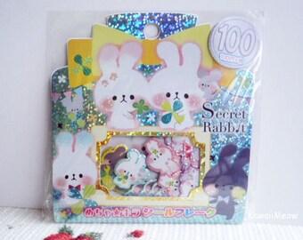 Kamio Japan Sticker Flakes -Secret Rabbit - 50 Pieces (46388)