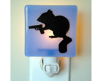 Chipmunk Night Light - Funny Gift Idea - Hand Painted Fused Glass