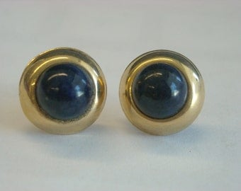 14k gold lapis stud earrings  ( C 78 )