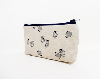 Owl Coin Purse, Zipper Pouch, Small Pouch, Change Purse, Gift for Her, Gift Under 20, Cute Pouch, Fabric Pouch, Owl Pouch, Owls in Navy