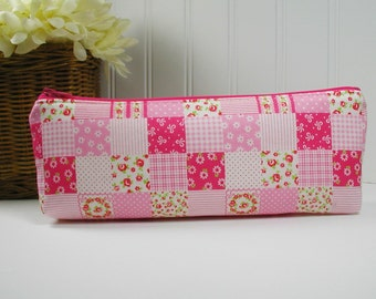 Long Zipper Pouch, Long Pencil Case, Pencil Pouch.. Pink Roses Patchwork, Romantic Memories
