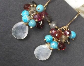 Turquoise Cluster Earrings Rainbow Moonstone Earrings Gemstone Wire Wrap Garnet Cluster Colorful Gemstone Gold Filled Earrings