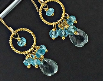 Blue Green Hoop Earrings Gold Wire Wrapped Petite Gemstone Cluster Teal Blue  Green Cluster Earrings Boho Hoop Earrings