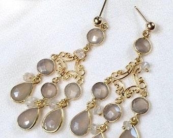 SUMMER SALE Beige Chandelier Earrings, Grey Chalcedony Gemstone Earrings,  Wire Wrapped Chandelier Earrings, Gold Chandelier Earrings. Pearl