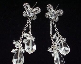 60% OFF SALE White Topaz Dangle Earrings Sterling Silver Post Bridal Earrings Butterfly Earrings Gift for Her Evening Earrings White Dangle