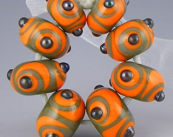 a set of eight graduated rondelles dark grey and orange  handmade lampwork glass beads - Grey & Orange Contrast