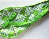Tennis Racquet Bag Cover, Lime Green and White Bamboo Outdoor Fabric, Bamboo Zipper Pulls, Single Racket Case
