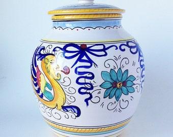 Large Vintage Ceramic Deruta Jar, Made in Italy, Williams Sonoma, Grazia Deruta
