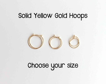 Thin Solid Yellow Gold Hoops in 14k or 18k. 14k Solid Gold Hoops. 18k Solid Gold Hoops. Small Hoop Earrings. Real Gold Earrings. Solid Gold