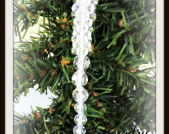 Glistening Beaded  Icicle Ornament /Glistening Beaded  Icicle Handcrafted Ornament (Ready to Ship)