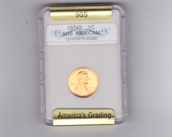 1974 S Lincoln penny  graded PR70 CAM BY S.G.S.