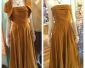 DEADSTOCK 1950's Bridal Shop Ochre Velvet Sample Dress & Shrug