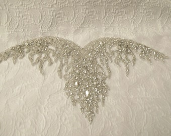 Crystal Rhinestone Applique for Sweetheart Neckline Bridal Dresses Strapless Wedding Gown