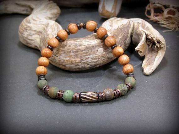 Mens Bracelet, Native American,  Green Opal Bracelet, Mens Beaded Bracelet, African Bracelet, Bracelet for Men, Mens Jewelry, Wood Bracelet
