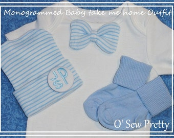 INFANT Boy Coming Home Outfit with matching hat and socks, monogrammed Infant hospital hat, Baby shower Gift, Newborn Hospital Hat Beanie,