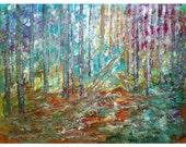 SALE Original Canvas Painting, Landscape Trees oil  SUMMER Morning Large Wall Decor by Luiza Vizoli 36x28