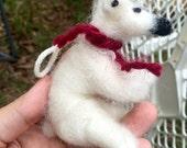 Needle Felt Bendy Polar Bear Ornament
