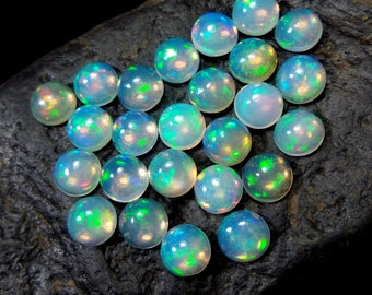 1 Ethiopian Opal solid gemstone cabochon - Opal cabs - 5 mm diameter round circle  - small  genuine natural fire Opal white Welo Wello flash