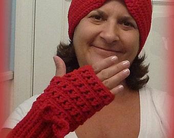 Ear Warmer/Headband, Red Headband with matching gloves, Red Ear Warmer, fingerless gloves, texting gloves
