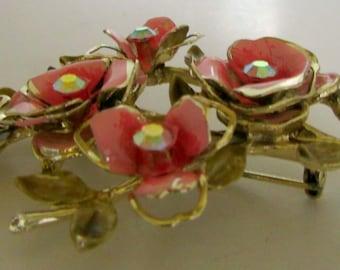 Vintage Pink Flower Brooch Rhinestone Enamel Pin Three petal flowers