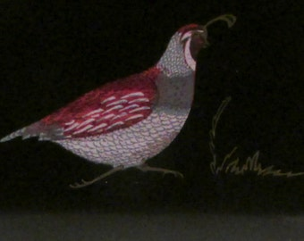 Vintage Couroc of Monterey Serving Tray featuring Colorful Inlaid Quail Design