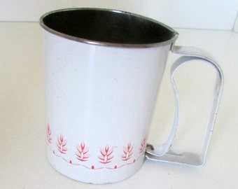Vintage Androck Flour Sifter Red Wheat Design Smaller Size White and Red