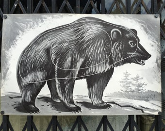 Vintage Archery Shooting Target of A Bear