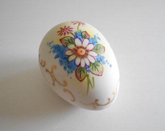 Trinket Dish Egg Shaped White Daisy Vintage 1974 Jewelry Box Porcelain Box Ring Dish White Porcelain White Trinket Dish Jewelry Dish Japan