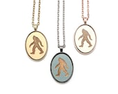 Sasquatch Pendant - Laser Engraved Wooden Cameo Necklace Featuring Bigfoot (Any Color - Custom Made) - Gifts for Her