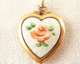 Vintage Gold Filled Heart Locket Charm with a Beautiful Enamel Rose
