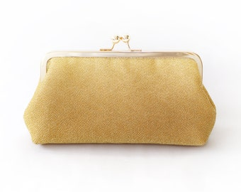 Shimmery Gold Clutch Purse for Bride, Bridesmaid, Mothers