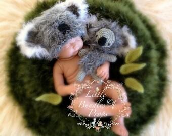 Baby Koala Hat and Koala Softy Newborn Photo Prop Newborn Koala Hat Koala Teddy Baby Photo Props Animal Props