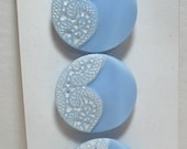 "7/8"" 1950's Schwanda Card of Baby Blue Glass Buttons with Beautiful White Painted Lacy Design 7460-10"