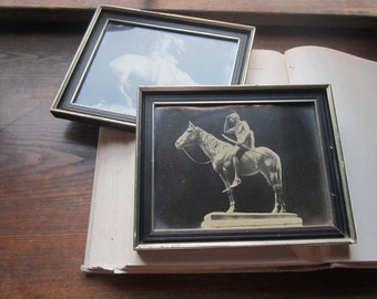 2 Vintage Native American Indian Photographs * 1920's Framed art * The Scout * The End of the Trail * Historic Statues * The Sioux