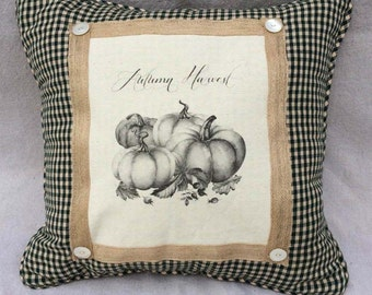 Fall Harvest Pillow | French Country Decor | Farmhouse Decor | Linen Print | Handmade throw pillow | Pumpkins and Green Gingham