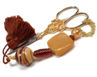 Caramel Brown Scissor Fob Scissor Keeper Scissor Minder Cross Stitch Needlepoint Hardanger Sewing Quilting Jupiter