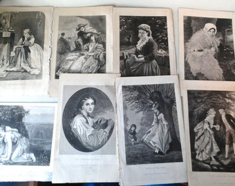 Antique original  engravings, early 1870's, beautiful ladies, lot of ten