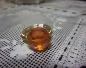Size 9 Tarnish Resistant Goldtone Wire Wrapped Ring w. Etched Orange Round Glass Bead Center