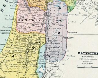 Antique Map of Palestine - Vintage Palestine Map - Holy Land Map