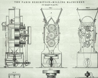 Antique Print of Milling Machinery - 1878 Vintage Print from The Engineer - Engineering Drawing