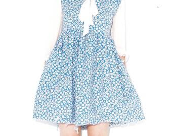 90s DAISY PRINT DRESS xs small / 90s grunge skater dress 90s dress floral dress daisy dress mini dress babydoll kawaii summer dress