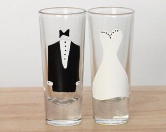 Wedding shot glass set, Bride and Groom, shot glass set, wedding glasses, shot glass, his and hers, personalized gift, engagement, wedding