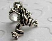 Frog charm, frog bracelet charm, TierraCast silver pewter charm, garden charm, big hole bead, pond, woodland creatures, forest