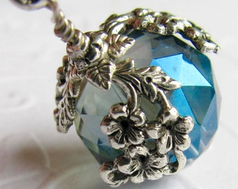The World in Bloom - ceiling fan pull, home decor, crystal blue ball charm, antiqued silver floral draping, capri aqua blue, light, lamp